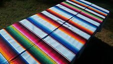 """Mexican Blanket Sarape Saltillo Multi-Colored w/ Very Light Blue Large 60"""" x 84"""""""