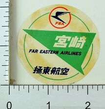 C. 1950's Far Eastern Airlines FEA China Japan Luggage Label Sticker #4 E7