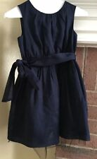 J Crew Crewcuts Girls Cotton Navy Blue Sleeveless Size 6 Dress