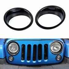 Auto Pair Black ABS Front Lamp Headlight Cover Trim For Jeep Wrangler 2007-2016