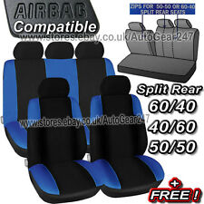 Black Blue Air Bag Friendly 5 Headrest & Split Rear Car Seat Covers Full Set