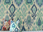 Drapery Upholstery Fabric Screen-Printed Rustic Linen Ikat - Turquoise on Beige
