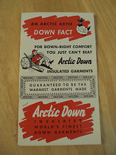 Vtg ca. 1950's Advertising Brochure/Catalog~ARCTIC DOWN~Insulated Clothing~Paper