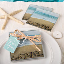 Beach Love Glass Coasters Beach Themed Wedding Favors - 2pk
