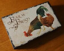FARM FRESH Country Rooster Chicken Hen Primitive Style Kitchen Home Decor Sign