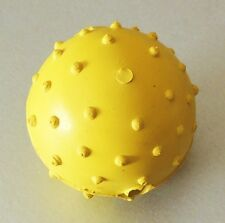 "2"" Natural Rubber Pimple Studded Ball w Bell Fetch Play Fun Happy Dog Toy Yellow"