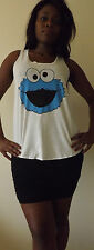 COOKIE MONSTER T-Shirt Vest Tank TOP Ladies Women Girls New SESAME STREET TSHIRT
