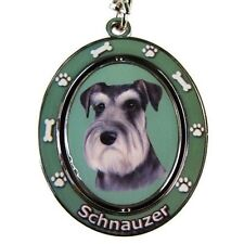 Schnauzer Uncropped Dog Spinning Key Chain Fob