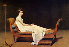 Stunning Oil painting Jacques Louis David - Madame Recamier canvas free shipping