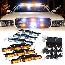 54 Amber&White LED Warning Flash Strobe Light Bar Emergency Deck Dash Grille C95