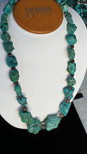 "925 Sterling Silver Artisan Large Genuine Turquoise Nugget Necklace 20"" USA"