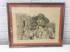 Vintage Willy Seiler Signed Etching Print Japanese Rice Farmer