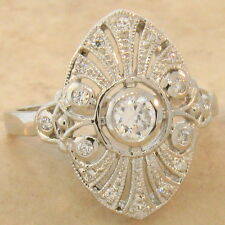 ANTIQUE ART DECO DESIGN 925 STERLING SILVER WHITE CZ FILIGREE RING SIZE 10,#621