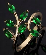 Delicate Fashion Women's Sz 6-10 Bridal Emerald 18K Gold Filled Engagement Rings