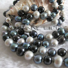 """34"""" 6-8mm Multi Color Freshwater Pearl Necklace Gray Peacock Black Jewelry U"""