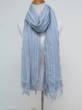 Chan Luu Cashmere and Silk Scarf with Stripes Light Blue Gently Worn