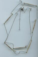 "SINGLE STRAND RHODIUM & YELLOW GOLD PLATED 36"" PAVE BAR CZ BY THE YARD NECKLACE"