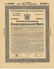 Merseburg Provinzialverband der Provinz Sachsen Schuldverschreibung 1923