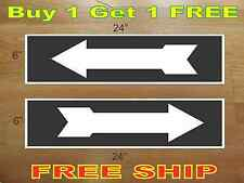 """White on BLACK ARROW 6""""x24"""" REAL ESTATE RIDER SIGNS Buy 1 Get 1 FREE 2 Sided"""