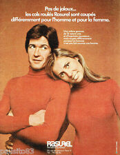 PUBLICITE ADVERTISING 115  1971  RASUREL sportwear  pulls col roulé homme & femm