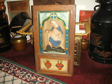 Antique Mother Mary & Jesus Shadowbox Religious Shrine-Wood & Glass-Front Opens