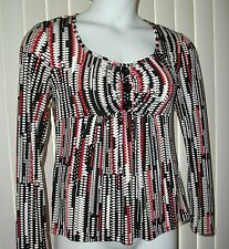 Worthington Stretch Tunic Top Womens M Medium Red Black White