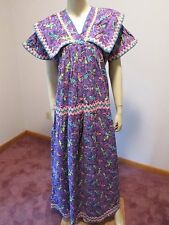 PEASANT DRESS Mexican Huipil Hand Made OOAK Purple Gecko Print L/XL Cotton Latin