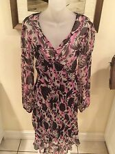 Diane von Furstenberg Silk Sheer Floral Dress/silk slip long sleeve Sz 4