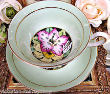 ROSINA TEA CUP AND SAUCER LIME GREEN & FLORAL PATTERN PAINTED TEACUP