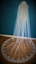 Bridal Veil *1 Tier*3M Wide*Cathedral Length* White*Wide corded Lace *