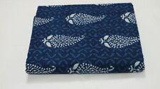 Cotton Indigo white Dabu Handblock printed fabric - 100cms Designed Paisleys