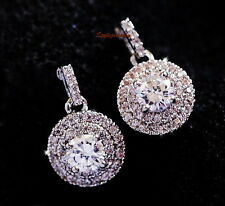 Sterling Silver Post Swarovski Zirconia Round Diamond Cluster Drop Earring XE113