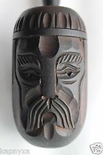 "BIG SNOOT Ukraine Handmade Wooden Carved Smoking Black TOBACCO PIPE 10"" Folk Art"