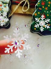10 Handmade Snowflakes, Swarovski Crystal Jewel Centres, Card Toppers