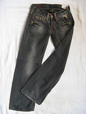 Replay Damen Jeans Black Denim Baggy W25/L30 extra low waist loose fit wide leg