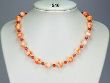 White orange mottled glass 10mm bead necklace, orange crystals, silver balls 18""