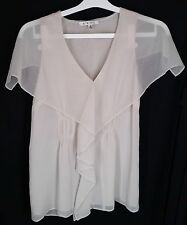 CAbi Whisper Blouse Sheer Ruffle Front Ivory Spring 2012 #814 Top Shirt - Sz S