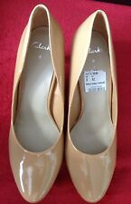 New *Clarks* (Size Uk 8) Baetyl Poppy Women's Nude Patent Court Shoes