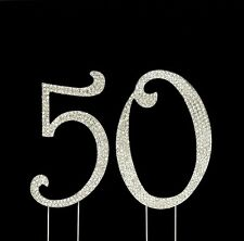 Large 50th Birthday Anniversary Number Cake Topper Sparkling Rhinestone Crystals