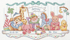 Cross Stitch Kit ~ Dimensions Stuffed Toy Shelf Baby Birth Record #3729