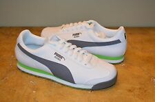 Puma Men's White/Grey/Green Leather ROMA Sneakers Size 11