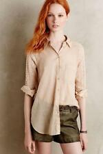 New Anthropologie by Holding Horses Lace-Sleeve Buttondown Shirt Size XS Sand
