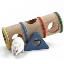 Natural Wooden Rainbow Colorful See-Saw Tunnel Cage Toy Tube for Pet Hamster