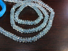 3 strand Lot Hard to find Natural Blue Topaz micro faceted rondelle beads 4mm