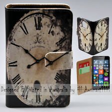 Wallet Phone Case Flip Cover for Nokia Lumia 640 - Vintage Time Flies Fast