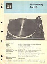 Dual Service Manual für 1210   .