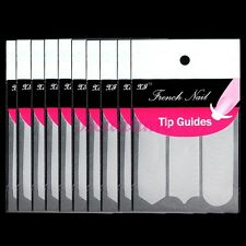 3 Styles 10 Packs Nail Art French Fringe Guides Sticker Tips Manicure Tape Paper