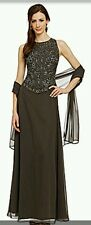 J KARA Beaded Mock 2 Pc Chiffon Gown Dress with Scarf Chocolate Brown Size 6P