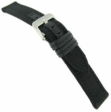 22mm Hadley Roma Black Genuine Kevlar Same Color Stitching Mens Watch Band MS848