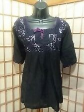 PEASANT SHORT SLEEVE SHIRT BLACK PURPLE EMBROIDERED HIPPIE BOHO 1 SIZE FITS ALL